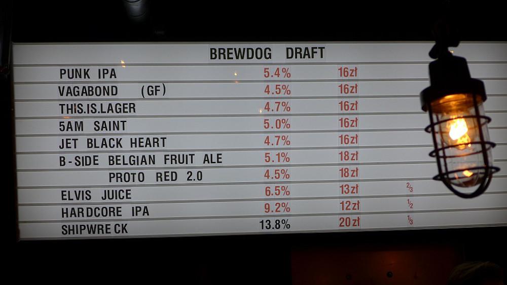 Цены в баре BrewDog в Варшаве. Фото: Polskie Minibrowary