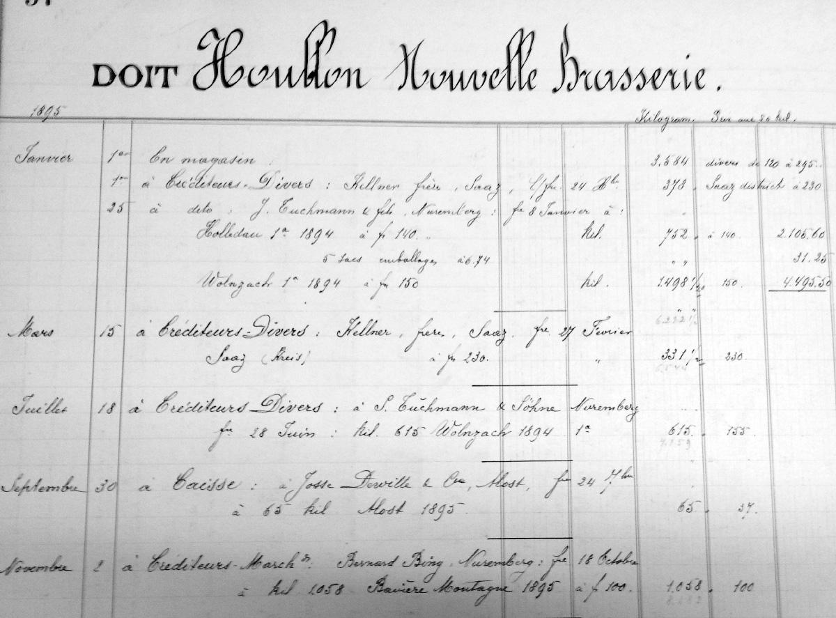 Заказ хмеля пивоварней Artois в 1895 году