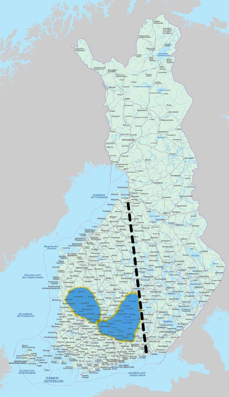 В начале ХХ века сахти был широко распространён на западе Финляндии, слева от пунктирной линии. Выделенная область показывает район, где сахти пользуется популярностью по сей день,гдесохранились древние традиции, этот регион включает около 40 деревень и несколько сотен пивоваров. Территории к востоку от пунктирной линии были областью распространения домашнего пива типа kalja