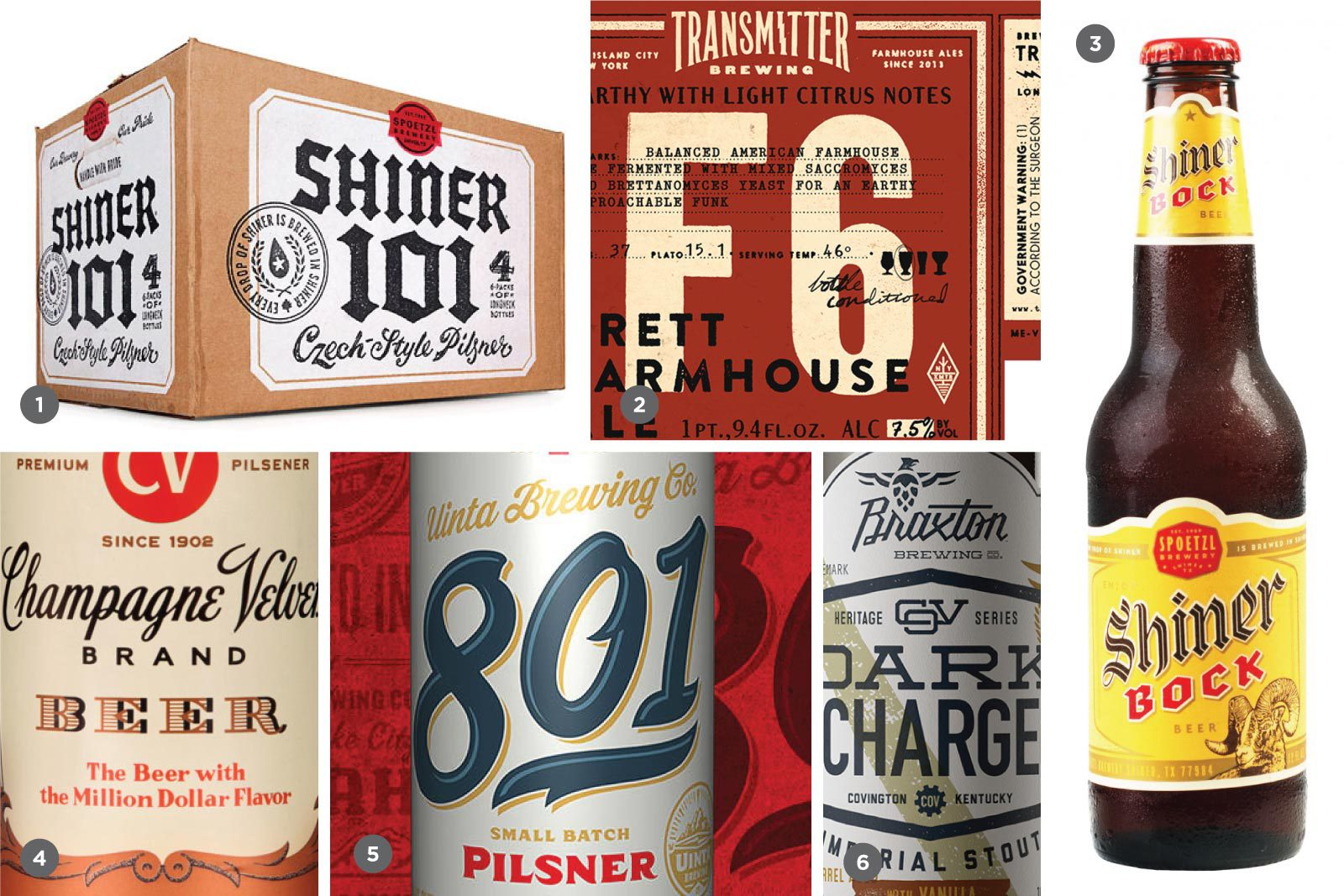 1. Shiner Beers (McGarrah Jesse), 2. Transmitter Brewing Co. (Jeff Rogers), 3. Shiner Beers (McGarrah Jesse), 4. Upland Brewing Co. (Young & Laramore), 5. Uinta Brewing Co. (Emrich Co.), 6. Braxton Brewing Co. (Neltner Small Batch)
