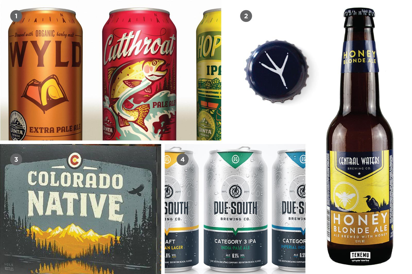 1. Uinta Brewing Co. (The Tenfold Collective), 2. Central Waters Brewing Co. (Hiebing), 3. Colorado Native (The Tenfold Collective), 4. Due South Brewing Co. (StudioMax Design)