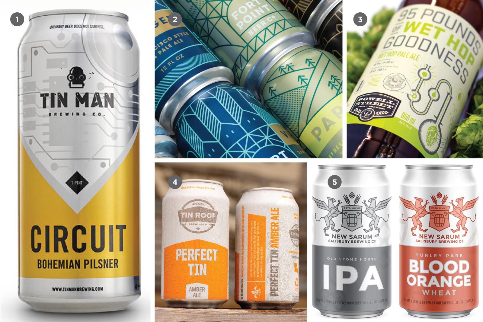 1. Tin Man Brewing Co. (Matt Wagner Design & Melodic Virtue), 2. Fort Point Beer Co. (Manual), 3. Powell Street Craft Brewery (Ben Didier), 4. Tin Roof Brewing Co. (Unreal), 5. New Sarum Brewing Co. (Big Bridge)