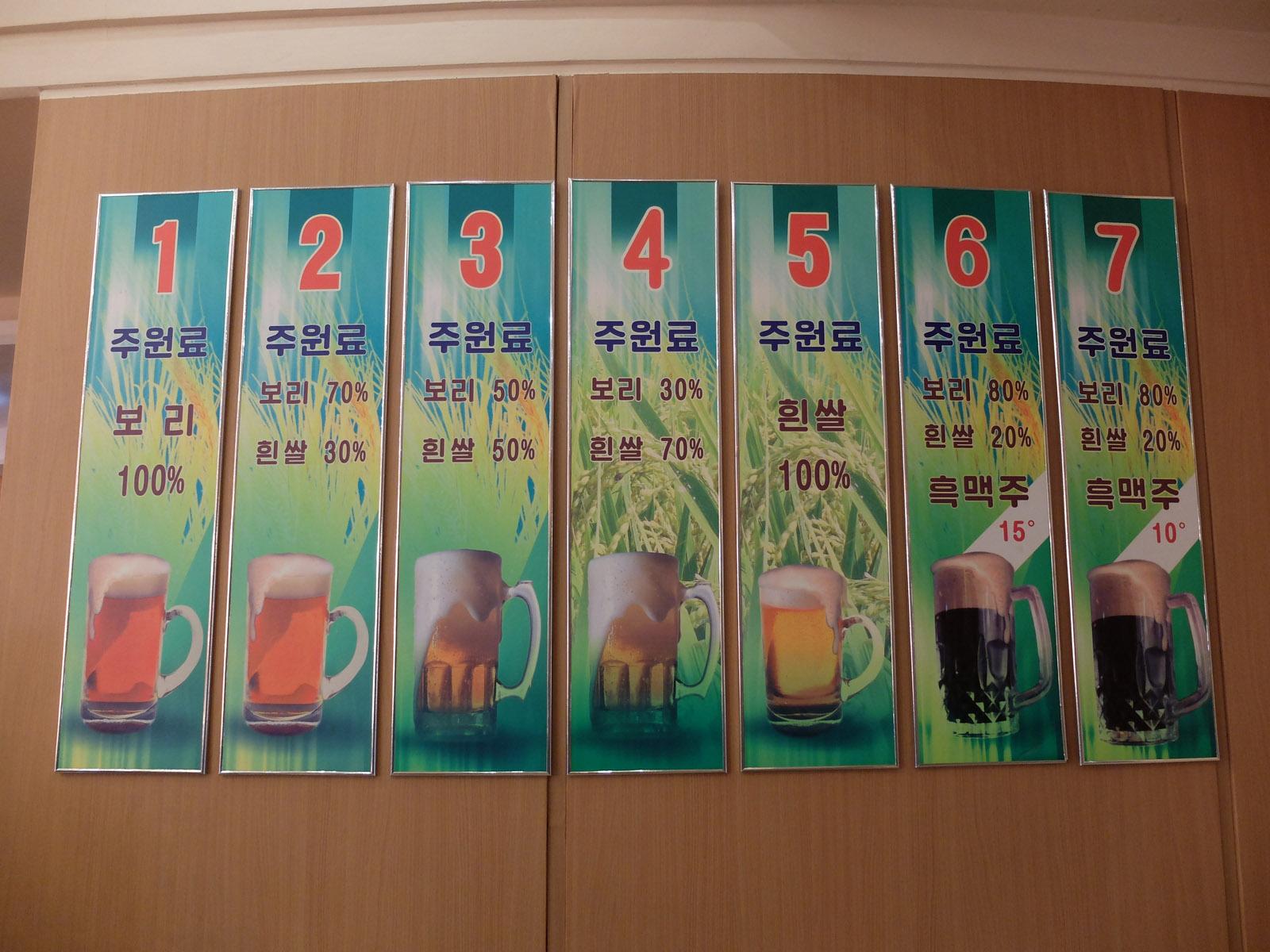 Сорта пива Taedonggang. Фото: Munchies