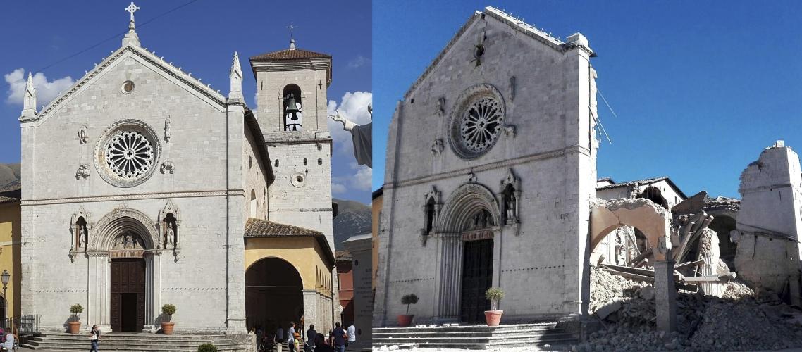Базилика святого Бенедикта Нурсийского: до и после землетрясения. Фото: AP Photo
