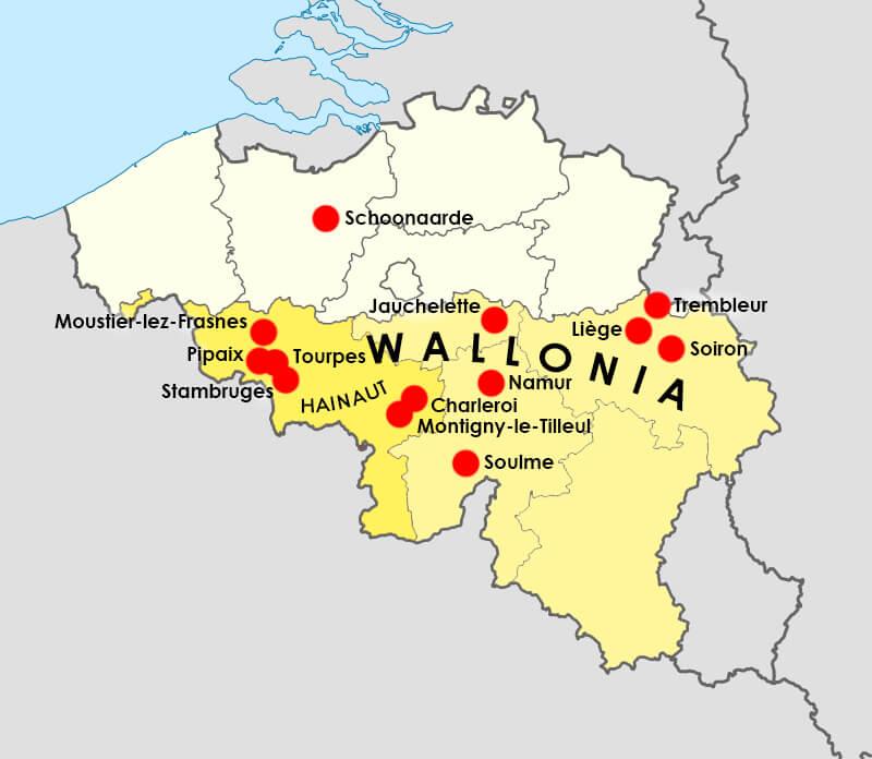 Карта мест, где варили «деревенский эль» в Бельгии