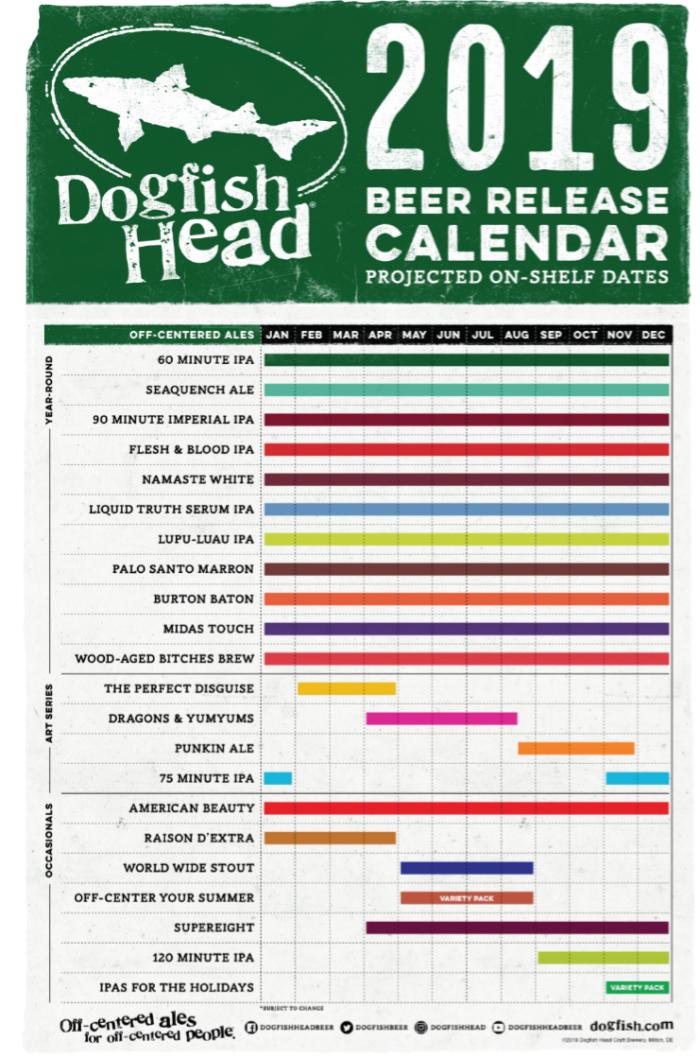 2019 Beer Release Calendar