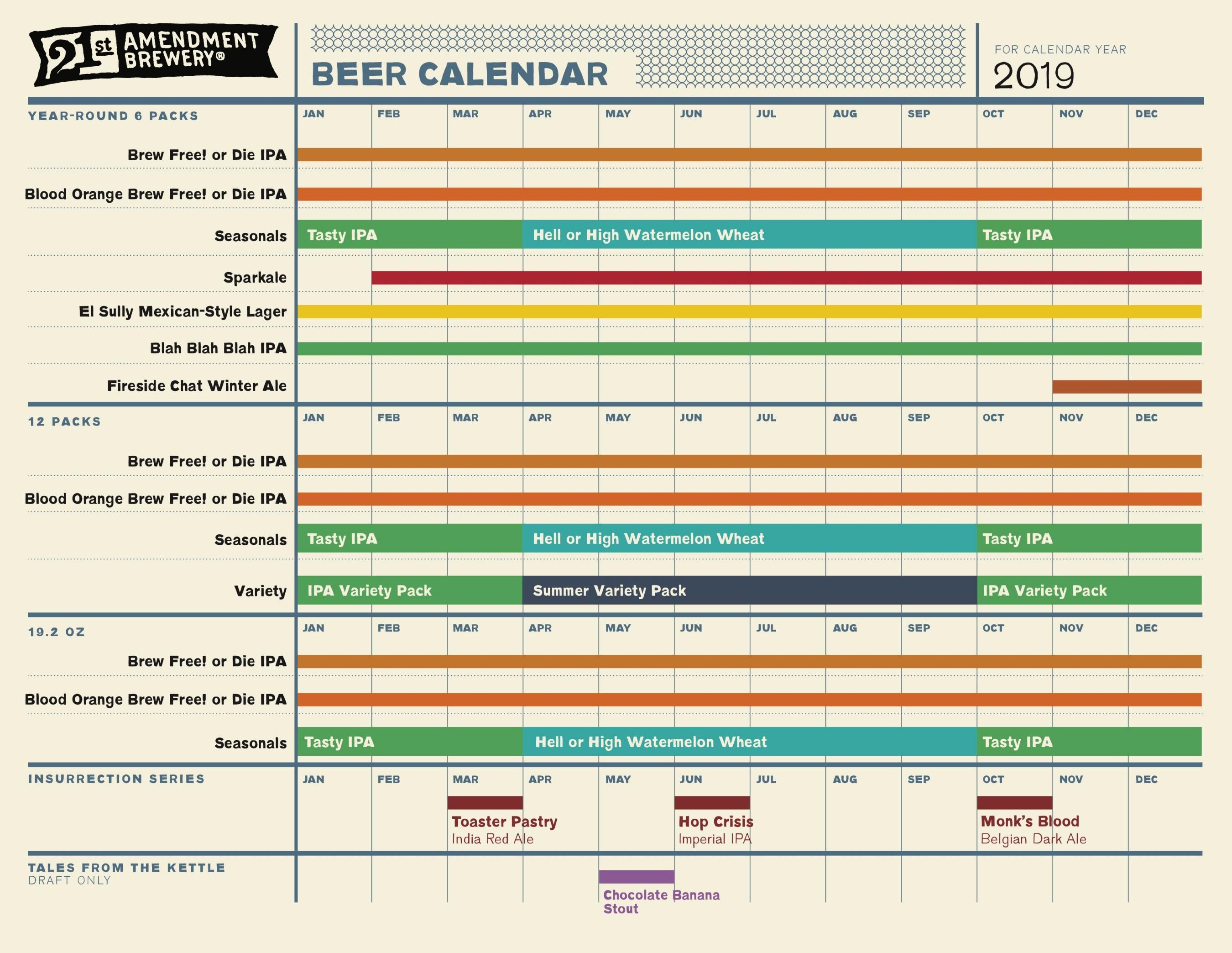 2019 Beer Release Calendars